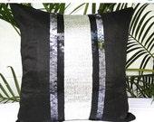 Black Silver Sequin Pillow Cover Throw Pillow Cover Decorative Pillow Cover Accent Pillow Shimmer Pillow Sequins Pillow Sparkly Pillow 18X18