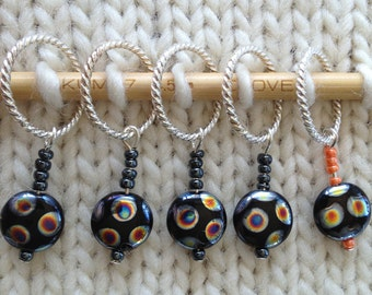 Black Mottled Knit Markers