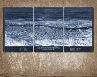 "Vintage Map of Portland METAL Triptych 34x17"" FREE SHIPPING"