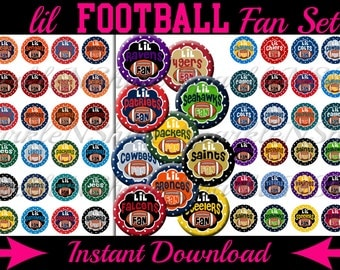 Instant Download Bottle Cap Image Sheet Collection - LiL Football Fan Set - 1 inch Circles (includes 4 image sheets)