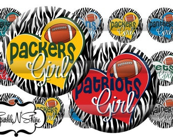 Instant Download Bottle Cap Image Sheet - Football Girl 303 - 1 inch Circles
