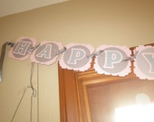 Pink and Grey Polka Dot Elephant Banner