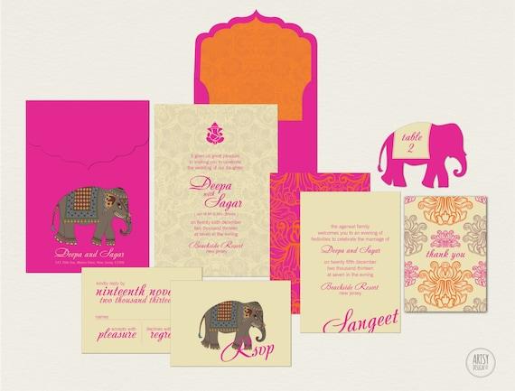 Fuschia And Orange Wedding Invitations: INDIAN SUMMER WEDDING Invitations Bright Fuschia By