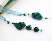 Jeweled Ribbon Bookmark, Turquoise Semi Precious Stones, Australian Jade Bead, Teal Organza Ribbon, Silver Wire Wrapped Pendants, Handmade