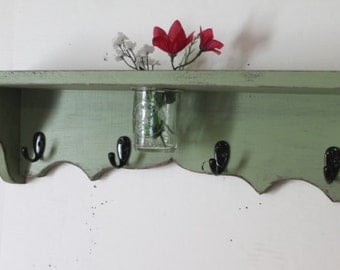 24 inch wood shelf, floral vase, key hooks, coat hooks, homeorganizer, cottage decor, home decor, distressed, and painted Garden Green