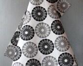 Linen Cotton Dish Towels Tea Towels Flowers Flower Circle Round Black White - Tea Towels set of 2