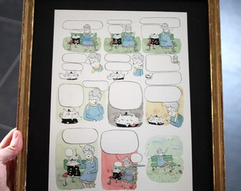 Page blanche : original framed watercolor