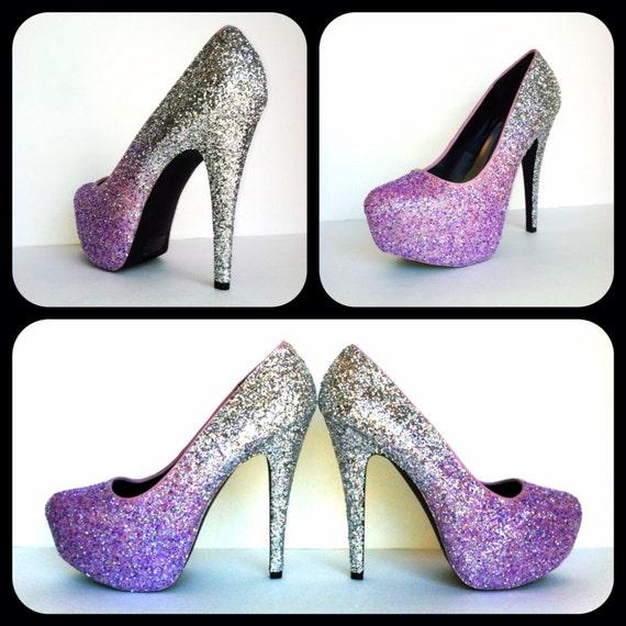 Lilac Fade Glitter High Heels