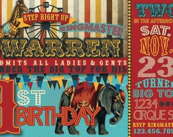 Circus Birthday Invitation- Digital, Vintage