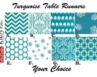 "Blue Table Runner-Turquoise Table Runner.Turquoise & White Table Cloth. 48"", 60"",72"",84"",96"" Runner or 12 x 18""Placemat."