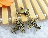 15pcs 4x18x19mm Antique Bronze Lovely 3D Aircraft Plane Airplane Charm Pendants Jewelry Supplies Findings  A1806-12C