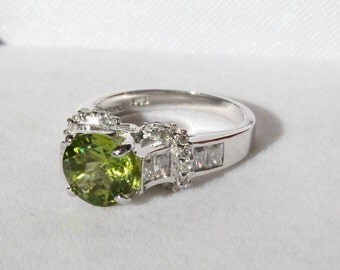 Peridot Heart Ring Round Solitaire with Cz Accents Rhodium Plated Sterling Silver Size 6 Engagement Promise Ring