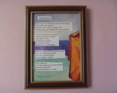 poetry collage, framed, Malindi Beach by Juliet Wilson