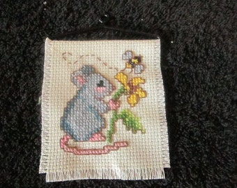 Mouse with Flower Mini  Wall Hanging