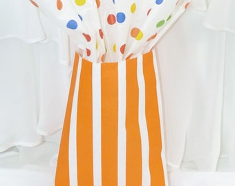 ORANGE Vertical Wide Stripe Party Favor Bags, 24 Candy Buffet, Wedding, Baby Shower. Treat Bags