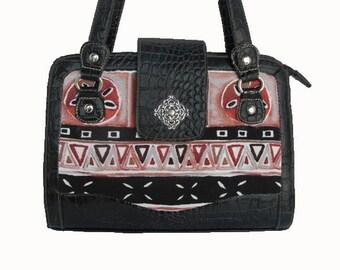 Black, Mauve, Gray Pattern Eco-Friendly Handbag Purse Bag