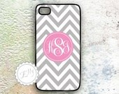 Case for iPhone 4S grey chevron and pink monogram with fancy letters