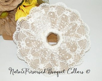 Handmade BURLAP and LACE Bouquet Collar, for Sunflower Country,Western Bouquet, DIY