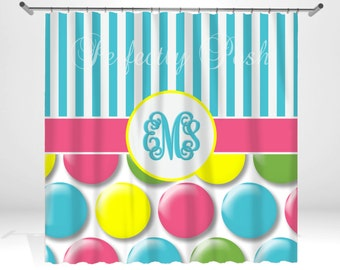 Personalized Polka Dot Shower Curtain