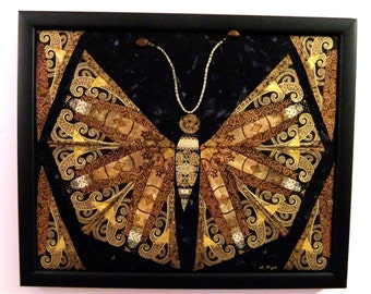 Framed quilted fabric art butterfly wall hanging