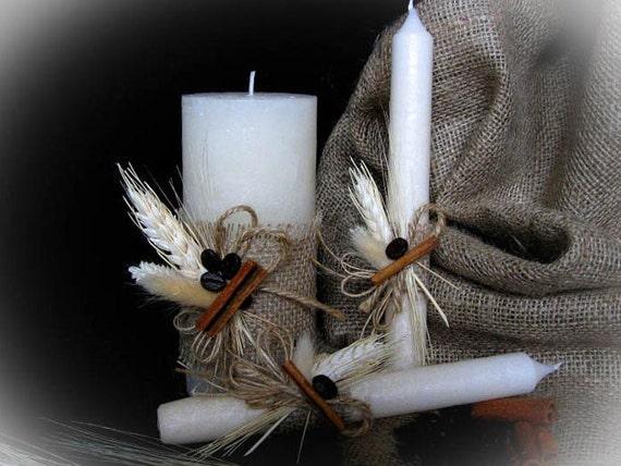 Handmade Rustic Wedding Unity Candles, Pillar Candle, Taper Candles, Personalized Candles, Unity Candle Set