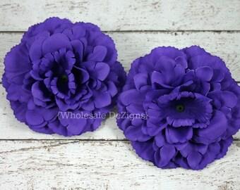 "Purple Silk Peony flowers - 4 inches Flower Heads - 4"" - 2 Peonies"