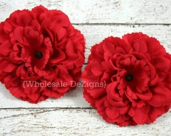"Red Silk Peony flowers - 4 inches Flower Heads - 4"" - 2 Peonies"