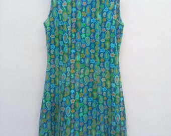 60s vintage women's medium paisley sleeveless dress, teal, blue, corduroy