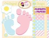 Clipart INSTANT DOWNLOAD Cute girl boy Baby's footprints flowers clip art designer layout digital images personal & commercial use pf00017-1