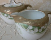 RS Silesia Lily of the Valley FD 85 Green White Gold Creamer and Sugar Bowl set