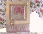 Pink Rose Wedding Day Card, Congratulations, Shabby Chic, Special Couple, Mr and Mrs, Wedding Wishes, Anniversary, with love