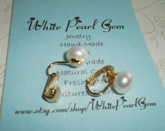 10mm Pearl Gold Clip on Earring, Clip On, Non Pierced Pearl Earring
