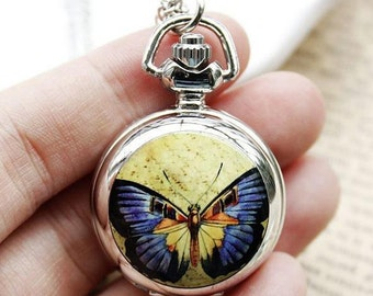 1pcs butterfly pocket watch charms pendant    25mmx25mm