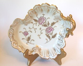 Antique Rosenthal Germany Porcelain Display Bowl Dish Ornate Hand Painted with Gold and Pink Floral | Circa 1900 Home Decor