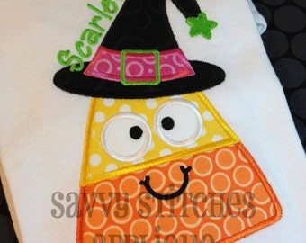 Candy Corn Witch Halloween Machine Embroidery Applique Design