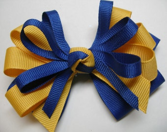 Royal Blue Hair Bow Yellow Gold Back to School Boutique Cheer Team Spirit Wear