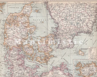 1904 Denmark and Southern Sweden at the end of the 19th Century with Section map of Iceland Antique Map