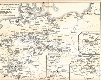 1897 City Telephone Devices and Telephone Connection Systems in the German Empire in 1896 and 1898 Original Antique Map
