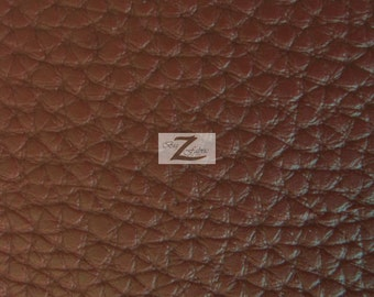 "Textured PVC Vinyl Leather Fabric - BROWN - Sold By The Yard 55"" Width"