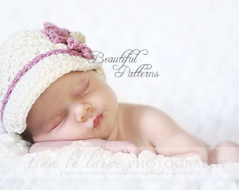 Crochet Hat Pattern Baby Girl Pattern Daisy Visor Newsboy Beanie Hat PDF 150 Newborn to Adult  Photo Prop Instant Download