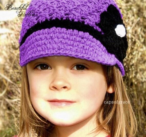 Daisy Crochet Baby Hat Pattern : Crochet Hat Pattern Girl Crochet Hat Daisy Visor Beanie Hat