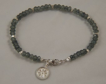 Simple Chic Faceted Green Mystic Quartz and Hill Tribe Silver Beaded Bracelet - All Sterling Silver