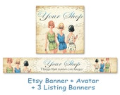 Vintage Fashion Stylish Etsy shop banner & avatar Etsy shop set Cute Bookmarks Paper goods - FASHION BANNER nr2