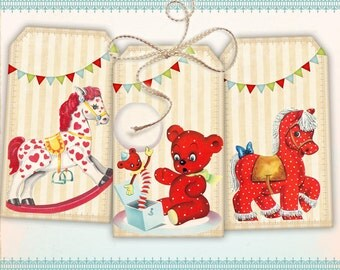 Colorful gift tags Vintage Retro toys Printable Digital Collage Sheet best for paper craft, scrapbook, paper goods - VERY CUTE TOYS