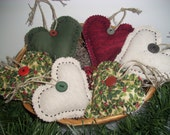Country Christmas Handmade Ooak  HEART BOWL FILLERS, Ornaments, Handmade Primitive, Rustic, Shabby Chic, Scented