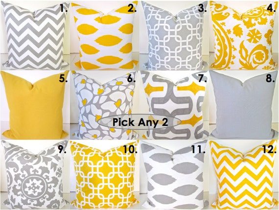 Sale THROW PILLOWS SET of 2 Gray Yellow 16x16 by SayItWithPillows