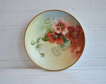 Vintage J. P. L. France Hand Painted Plate | Floral Design | French Country Cottage | French Plate