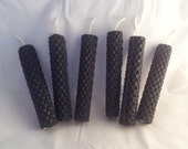 Set of 6 Black Beeswax Spell Candles