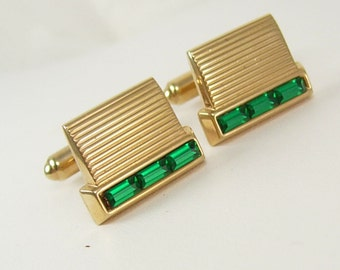 Vintage Emerald Baguettes Cufflinks Green Grillwork Birthday Business Wedding Signed Hickok USA MAY BIRTHSTONE