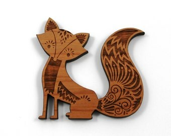 Laser Cut Supplies- 1 Piece.Woodland Fox Charms -Cherry Wood Laser Cut Fox -Brooch Supplies- Little Laser Lab Sustainable Wood Products